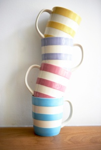 Her mugs stacked